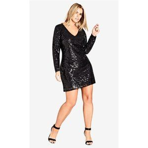 City Chic Black Sequined Bright Light Dress New 22